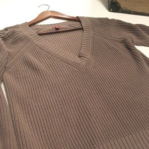 Guess Lace Up Sleeve Knit Sweater Light Brown